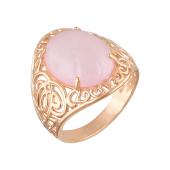 Кольцо перстень с розовым кварцем, серебро с позолотой