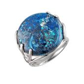 Кольцо с агатом (соколиным глазом, лазуритом, амазонитом, кораллом, хризопразом) из серебра