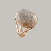 Кольцо с кораллом (авантюрином), серебро с позолотой