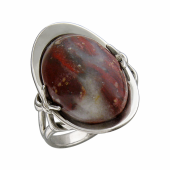 Кольцо с тибетской бирюзой (солнечным камнем, тигровым глазом, яшмой океан), серебро