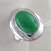 Кольцо с зеленым агатом и фианитами, серебро