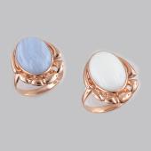 Кольцо с овальным агатом (кахолонгом), серебро с золотым покрытием
