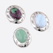 Кольцо с агатом (кианитом, кораллом, тигровым глазом, хризопразом, циозитом), серебро