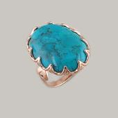 Кольцо с овальной бирюзой (содалитом), серебро с золотым покрытием