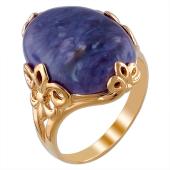 Кольцо с чароитом (кианитом, бычьим глазом) из серебра с позолотой