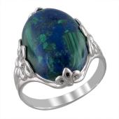 Кольцо с лазуритом (азуромалахитом), серебро