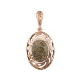 Кулон с кораллом (бирюзой), серебро с позолотой