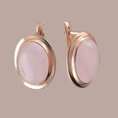 Серьги с розовым кварцем из серебра с позолотой
