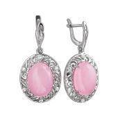Серьги с розовым кварцем и фианитами из серебра