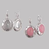 Серьги с розовым кварцем (горным хрусталем) из серебра