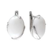 Серьги с овальной бирюзой (солнечный камень, лазурит, нефрит, кахолонг), серебро