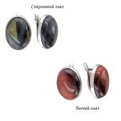 Серьги с овальным агатом (яшма, сердолик, тигровый глаз) из серебра