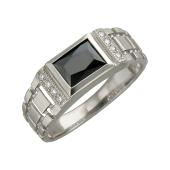 Кольцо мужское с черным и прозрачными, серебро