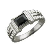 Кольцо мужское с квадратным черным (с цветным) фианитом, серебро
