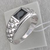 Кольцо мужское часовое с прямоугольным чёрным фианитом, серебро