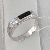 Кольцо мужское с прямоугольным агатом и фианитом, серебро