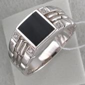Кольцо мужское с квадратным агатом и фианитами, серебро