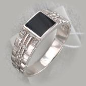 Кольцо мужское с прямоугольным агатом и фианитами, серебро