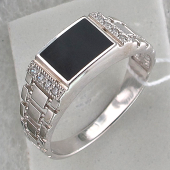 Кольцо мужское часовое с черным агатом и фианитами, серебро
