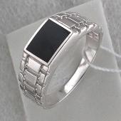 Кольцо мужское с прямоугольным агатом, серебро