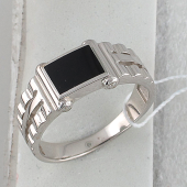 Кольцо мужское часовое с черным агатом, серебро