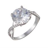 Кольцо с большим фианитом, серебро