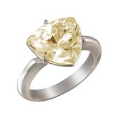Кольцо с желтым фианитом огранки триллион из серебра 925 пробы