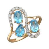 Кольцо с топазами и фианитами из красного золота