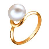 Кольцо с белым жемчугом из красного золота 585 пробы
