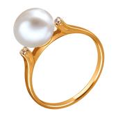 Кольцо с белым жемчугом и фианитами из красного золота 585 пробы