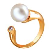 Кольцо разомкнутое с белым жемчугом и фианитом, красное золото 585 пробы