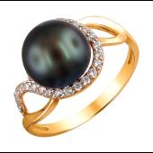 Кольцо с черным жемчугом и дорожкой из прозрачных фианитов из красного золота 585 пробы