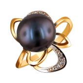Кольцо с черным жемчугом и прозрачными фианитами из красного золота 585 пробы