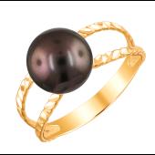 Кольцо с черным жемчугом из красного золота 585 пробы