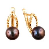Серьги с черным жемчугом и алмазными гранями из красного золота 585 пробы