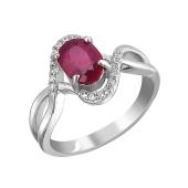 Кольцо Бесконечность с рубином и фианитами из серебра 925 пробы