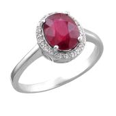 Кольцо с рубином из серебра 925 пробы