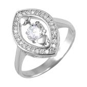 Кольцо Два Сердца с фианитами из серебра 925 пробы