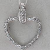 Подвеска Сердце с фианитами из серебра 925 пробы