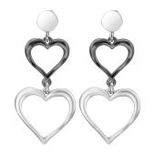 Серьги Сердце из серебра 925 пробы с чернением