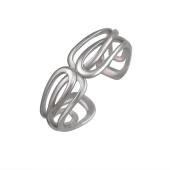 Кольцо Петли разомкнутое, серебро