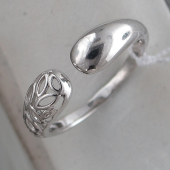 Кольцо Узоры разомкнутое, серебро