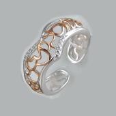 Кольцо разомкнутое с узорами и фианитами, серебро с позолотой