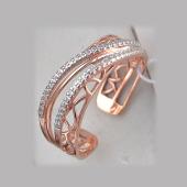 Кольцо разомкнутое с фианитами, серебро с позолотой