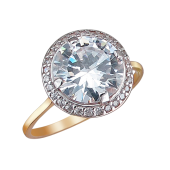 Кольцо с большим круглым фианитом из серебра с позолотой