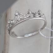 Кольцо Корона Диадема с фианитами, серебро