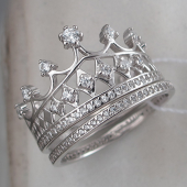 Кольцо Корона с ромбами и фианитами, серебро
