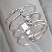 Кольцо Винтовая Лестница с фианитами, серебро