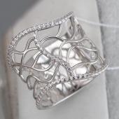 Кольцо широкое ажурное Волна с фианитами, серебро