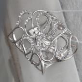 Кольцо Змейка с фианитами, серебро